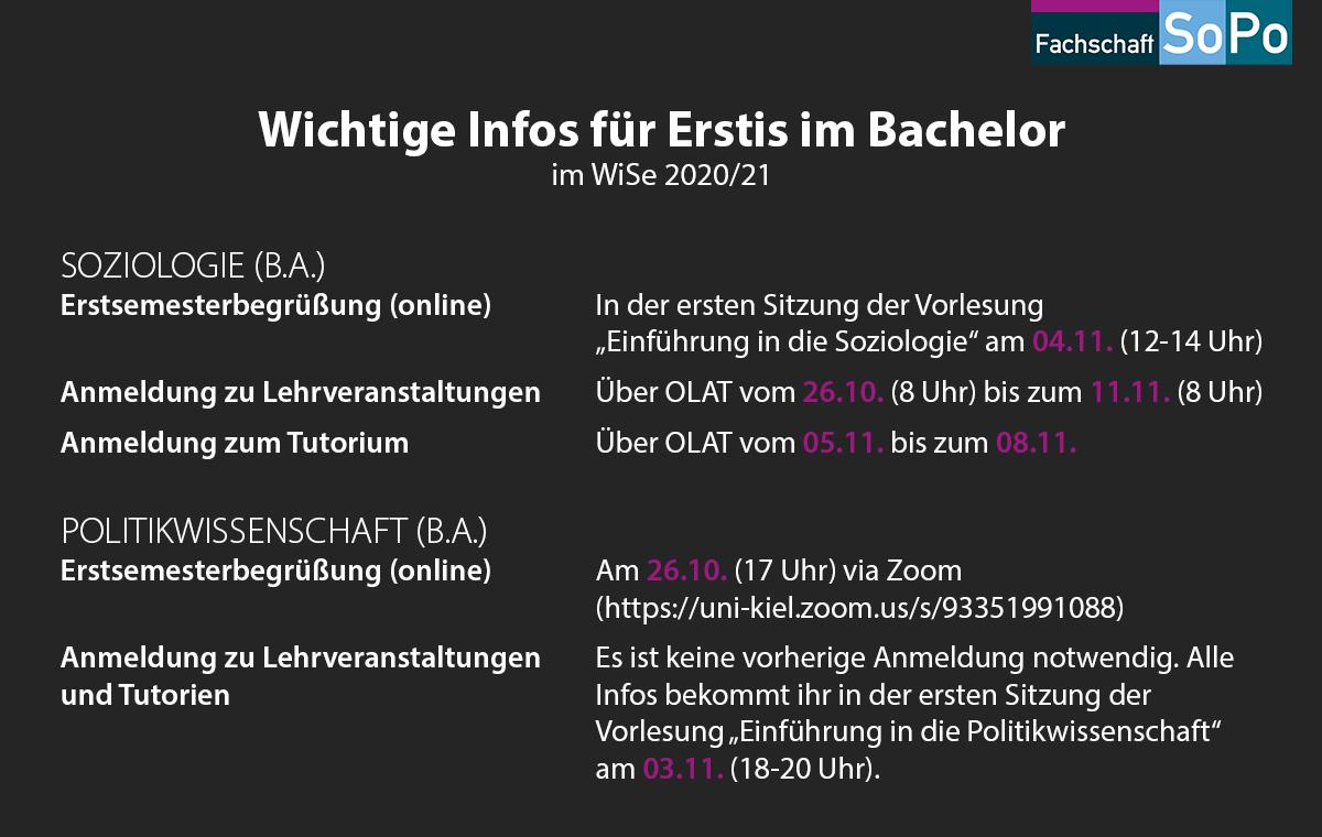 Wichtige Infos für Erstis im Bachelor