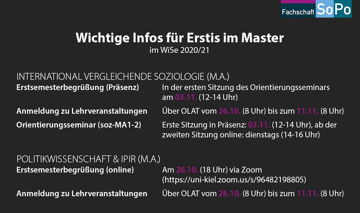 Wichtige Infos für Erstis im Master